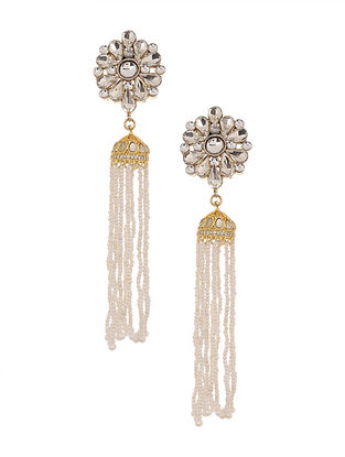 Gold Plated Handcrafted Jhumki Earrings with Pearls