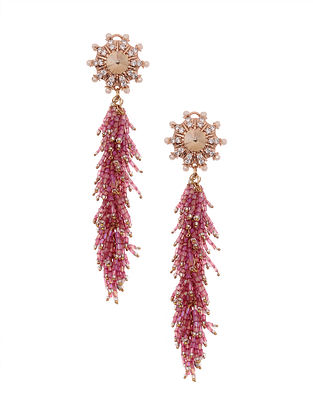 Pink Gold Plated Beaded Earrings with Pearls