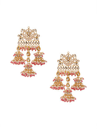 Pink Gold Plated Kundan Earrings with Pearls