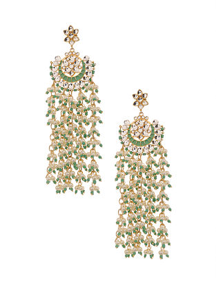 Green Enameled Gold Plated Earrings with Pearls