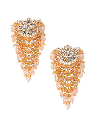 Orange Peach Gold Plated Handcrafted Earrings