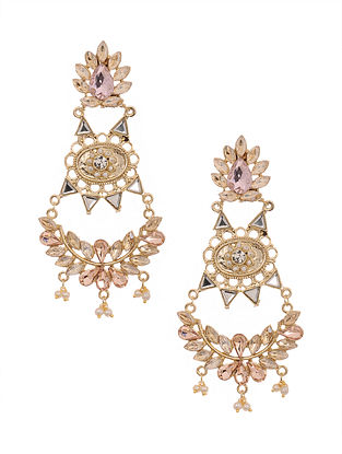 Pink Brown Gold Plated Handcrafted Earrings with Pearls
