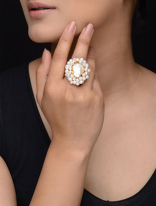 White Gold Tone Pearl Beaded Adjustable Ring