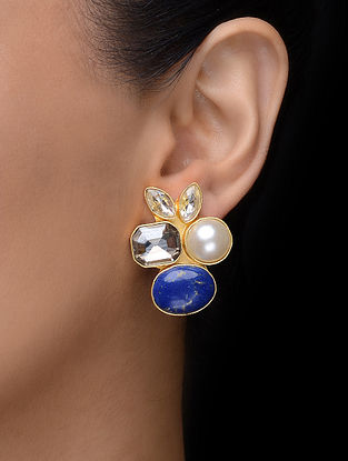 Blue Gold Tone Earrings with Pearl