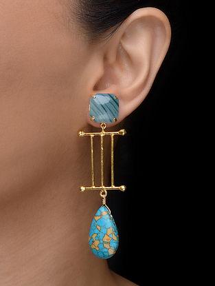 Green-Turquoise Gold Tone Earrings