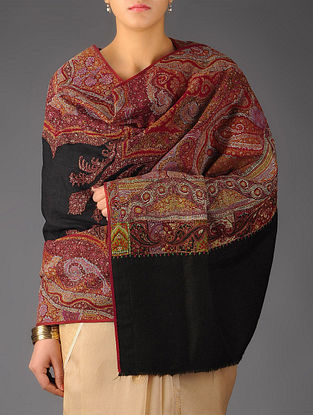 Intricate Kashmir 1840s All-over Hand Woven Jamawar with Center Pashmina Shawl by Aditi Collection