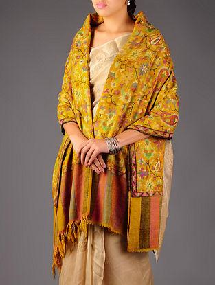 Pashmina Dorukha Kani Hand Woven Paisley Floral Maple Leaf Shawl by Aditi Collection