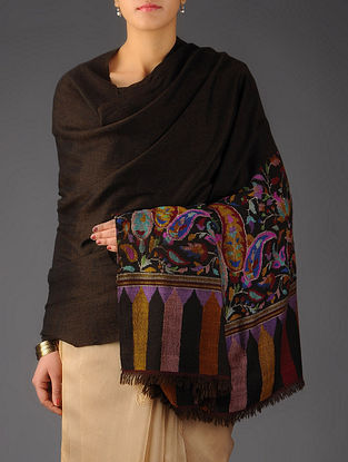 Mens Large Pashmina Dorukha Kani Hand Woven Border Shawl by Aditi Collection - 3 x 1.5 yards