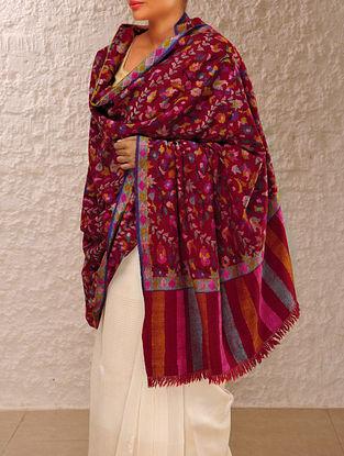Exquisite Kashmir Pashmina Dorukha Kani Lahariya Bel-Phooldar Design Hand Woven Shawl By Aditi Collection