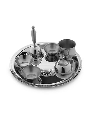 Etching Pooja Stainless Steel Thali Small (L:8.3in x W:8.3in x H:4.7in)