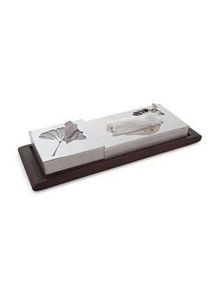 Gengko Stainless Steel Tissue and Mint Box along with Thermowood Tray (L:15.7in x W:5.9in x H:3.4in)