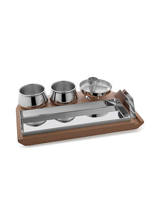 Ambrosia Stainless Steel Tray (L:13.4in x W:7.9in x H:3.3in)