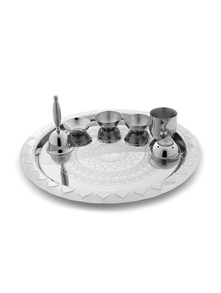 Etching Pooja Stainless Steel Thali (L:12.6in x W:12.6in x H:4.5in)