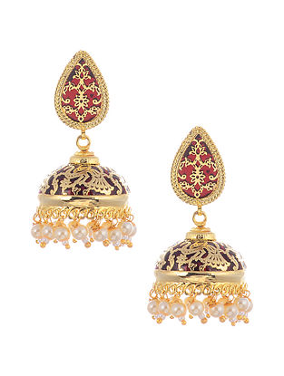 Maroon Gold Tone Earrings with Pearls