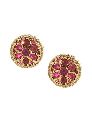 Maroon Gold Tone Handcrafted Earrings