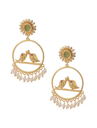 Green Gold Tone Earrings with Pearls