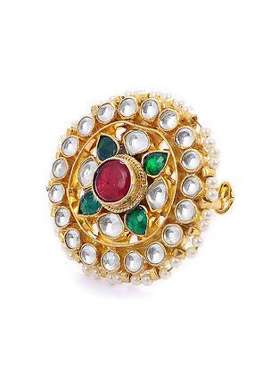 Green Maroon Gold Tone Kundan Ring