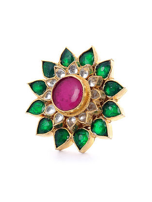Green Pink Gold Tone Kundan Ring