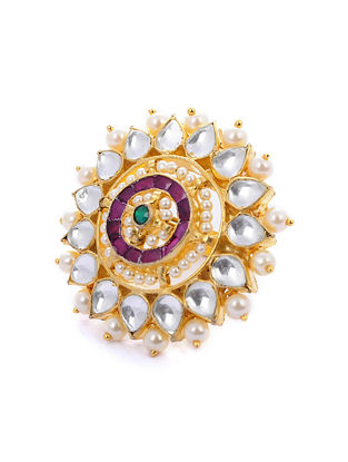 Pink Green Gold Tone Kundan Ring