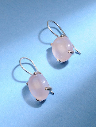 Classic Silver Earrings with Pink Chalcedony