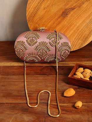 Mauve Hand Embroidered Satin Clutch
