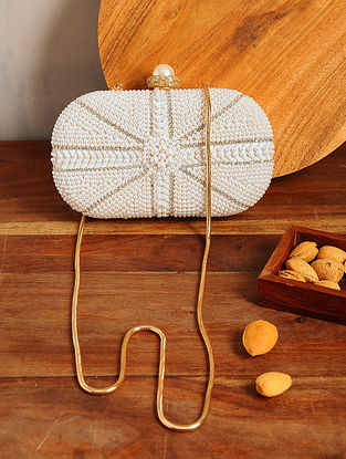 White Handcrafted Embellished Jute Clutch