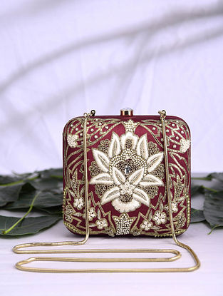 Maroon Hand Embroidered Satin Clutch