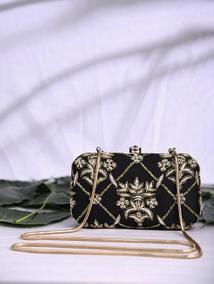 Black Hand Embroidered Satin Clutch