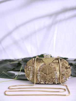 Gold Handcrafted Sequined Satin Clutch