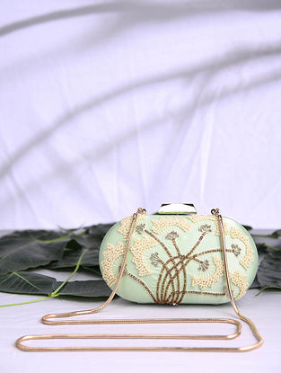 Pista Green Hand Embroidered Satin Clutch