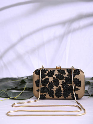 Brown Hand Embroidered Satin Clutch