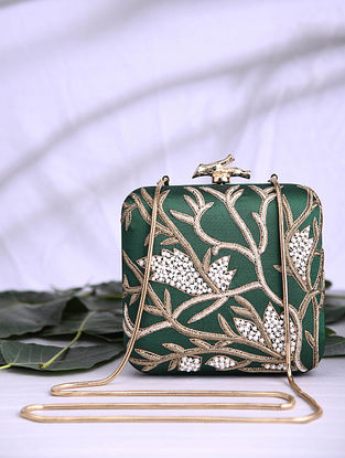 Bottle Green Hand Embroidered Satin Clutch