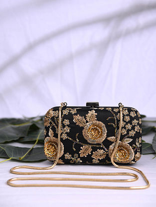 Black Hand Embroidered Satin Clutch