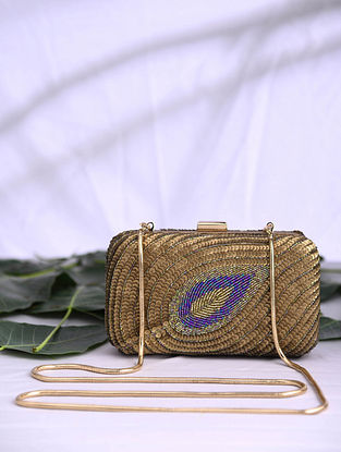 Gold Purple Handcrafted Sequined Satin Clutch
