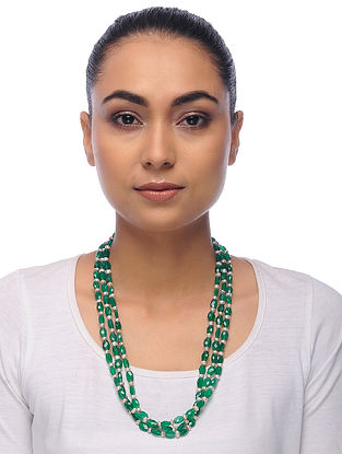 Green-White Onyx Pearl Beaded Necklace