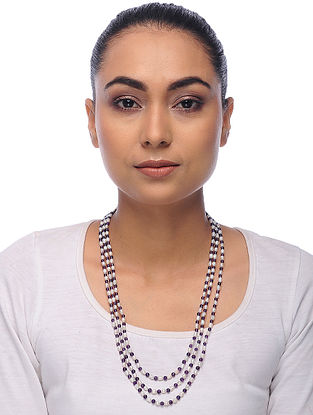 Purple-White Amethyst and Pearl Beaded Necklace