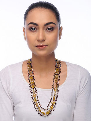 Yellow-Maroon Citrine and Pearl Beaded Necklace