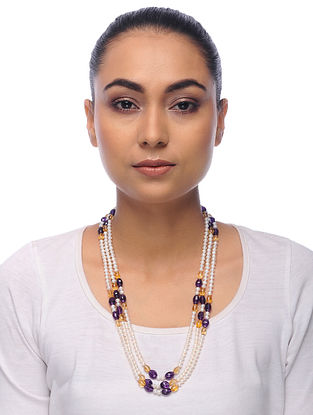 Multicolored Amethyst and Citrine Pearl Beaded Necklace