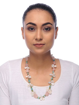 Multicolored Quartz Agate and Prehnite Beaded Necklace