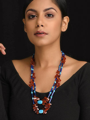 Blue-Brown Natural Lapise and Red Onyx Necklace