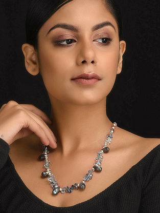 Grey Natural Aquamarine Labroderite and Pearls Necklace