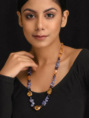 Multicolored Natural Tanzanite Citrine and Rodholite Garnet Necklace