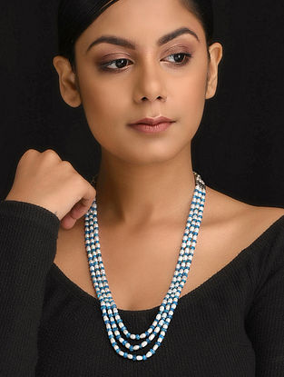 Blue-White Natural Apetite and Pearls Necklace