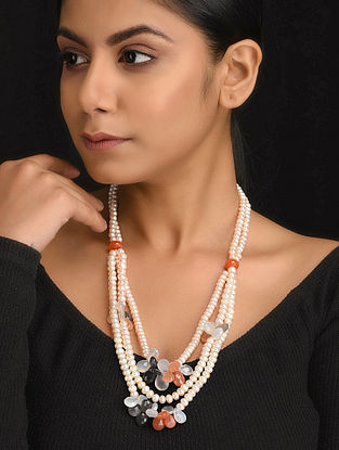 Multicolored Natural Multi Moonstone and Pearls Necklace