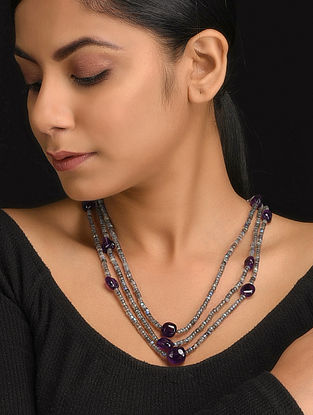 Grey-Purple Natural Labroderite and Amethyst Necklace