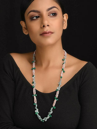 White-Green Natural Aquamarine and Green Onyx Necklace with Pearls