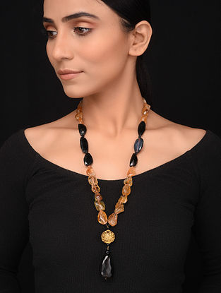 Natural Citrine and Black Onyx Beaded Necklace
