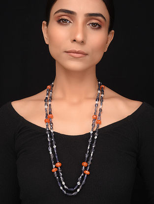Natural Carnelian and Iolite Beaded Necklace