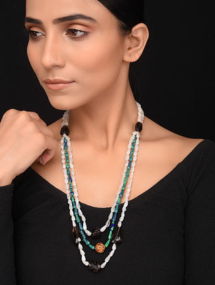 Natural Moonstone and Malachite Beaded Necklace