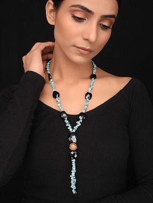 Natural Turquoise and Black Onyx Beaded Necklace